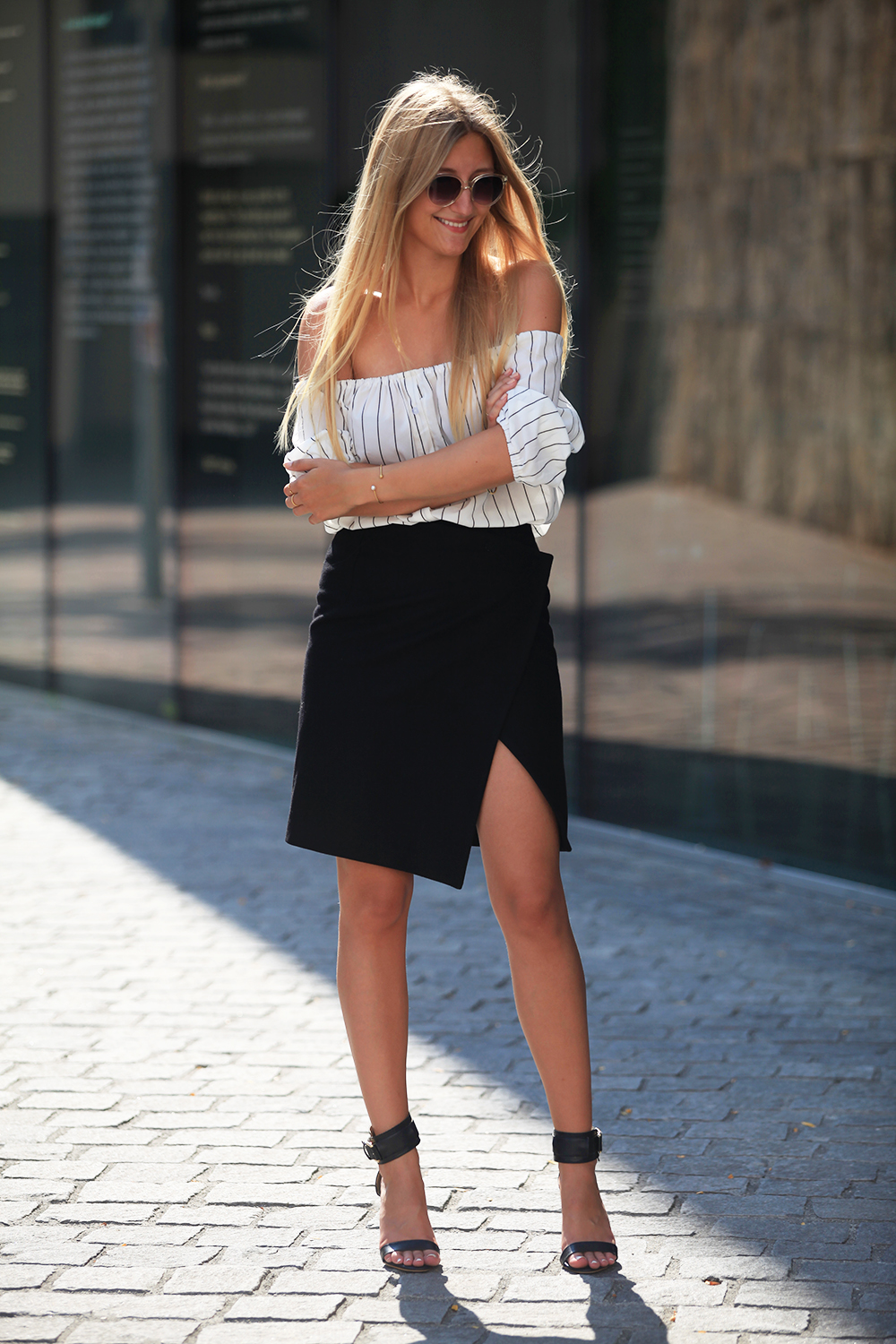 off shoulder and asymmetric skirt