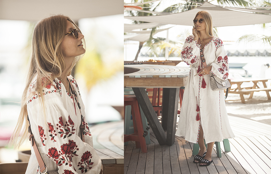 Miu miu slippers pearls blue avenue 32 dress sunglasses maldives malediven vita kin blonde travelblogger reiseblogger boho outfit maldives outfit