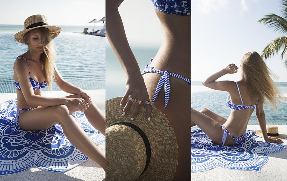 header anita swimwear bikini rosa faia beach hat infinity pool maldives malediven outfit strandtuch beach towel vivalamoda vivalamodablog reiseblogger travelblogger pandora ringe rings blue bikini