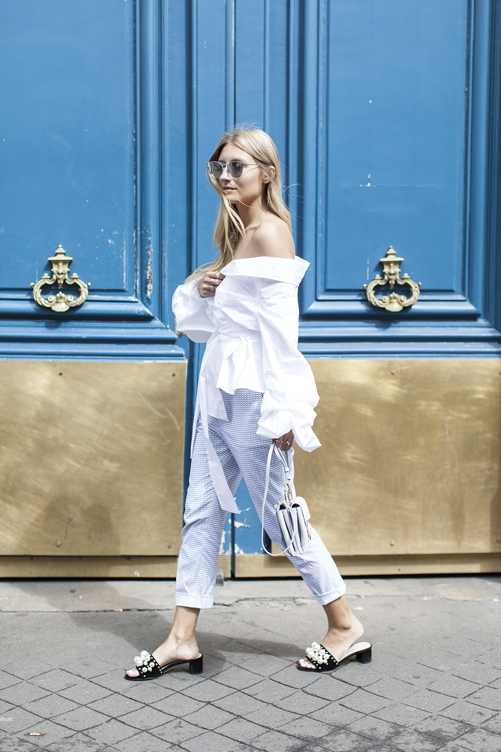 coccinelle bag, miu miu pearl slippers and lacoste pants