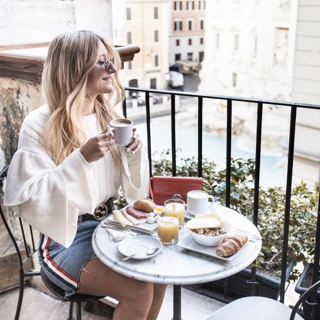 Breakfast overlooking the Trevi Fountain Shop my look and vintagehellip